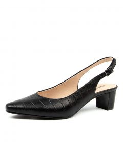 Lyra Black Croc Leather