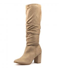 STAPLES TAUPE MICROSUEDE