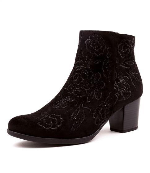 Buy GABOR Rosey Schwarz Velour Ankle Boots online with free shipping
