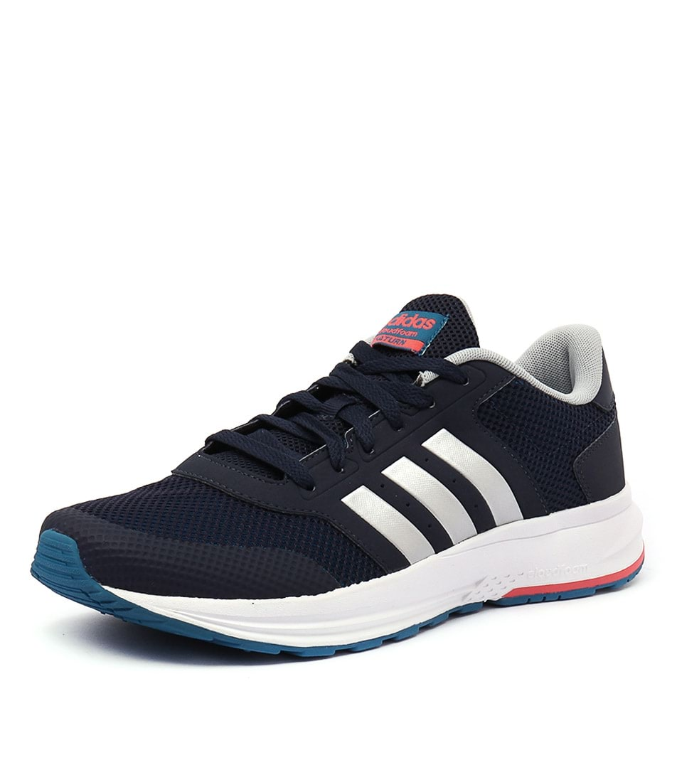 run shoes hot sale low price sale cloudfoam saturn navy silver red smooth