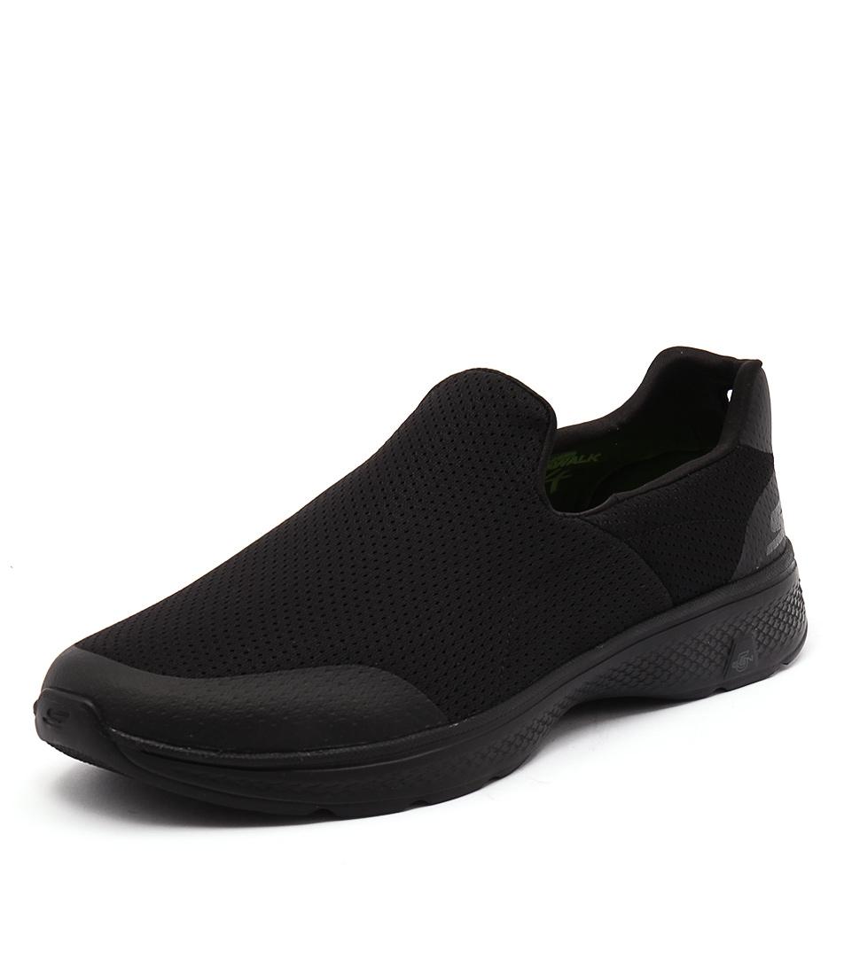 54152 go walk 4 air mesh black black smooth