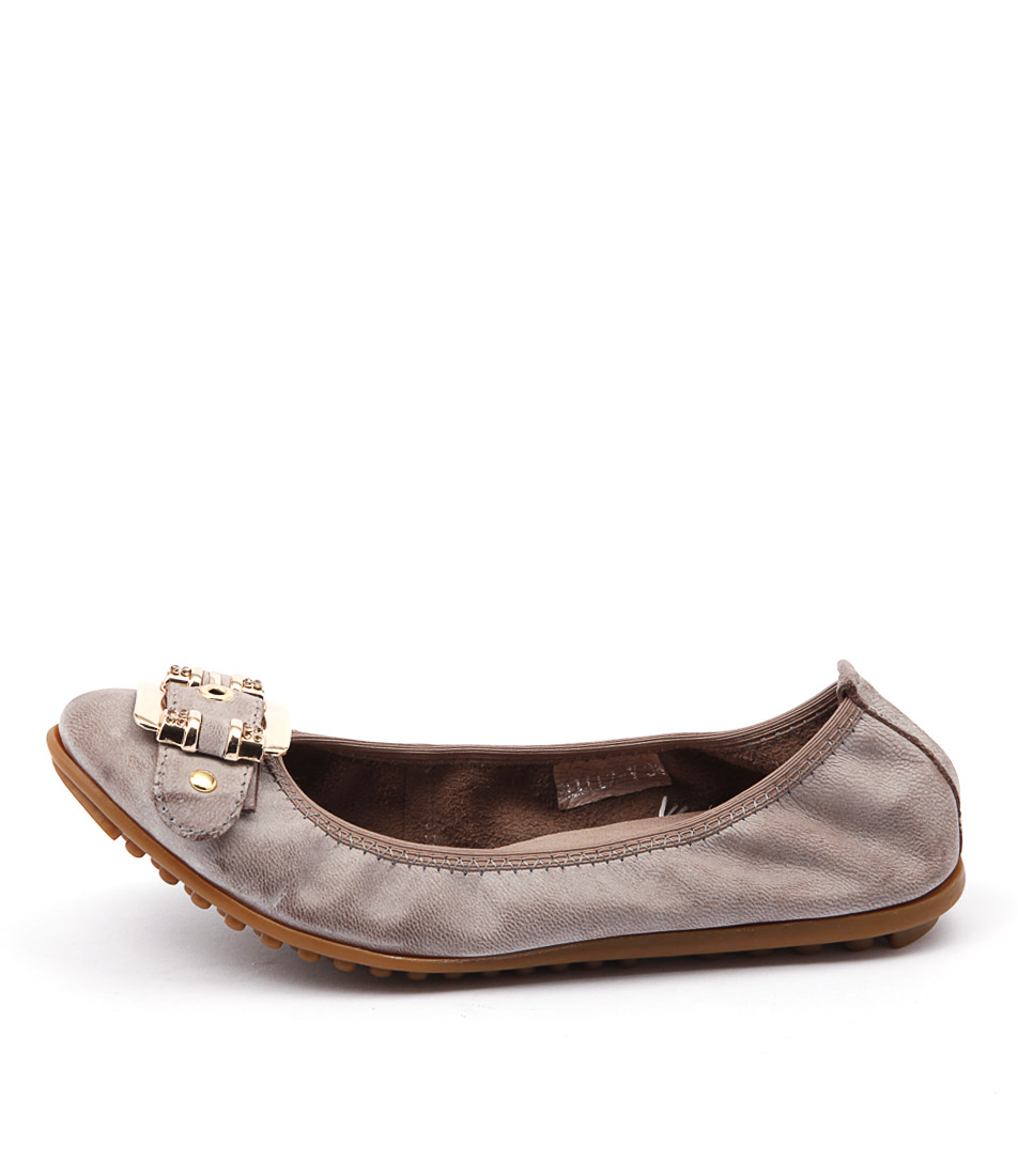 Django & Juliette Bellez Taupe Comfort Flat Shoes