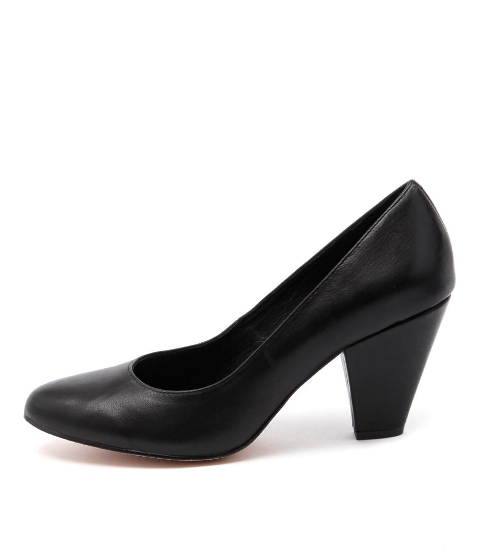 Django & Juliette Classic Black Dress Heeled Shoes