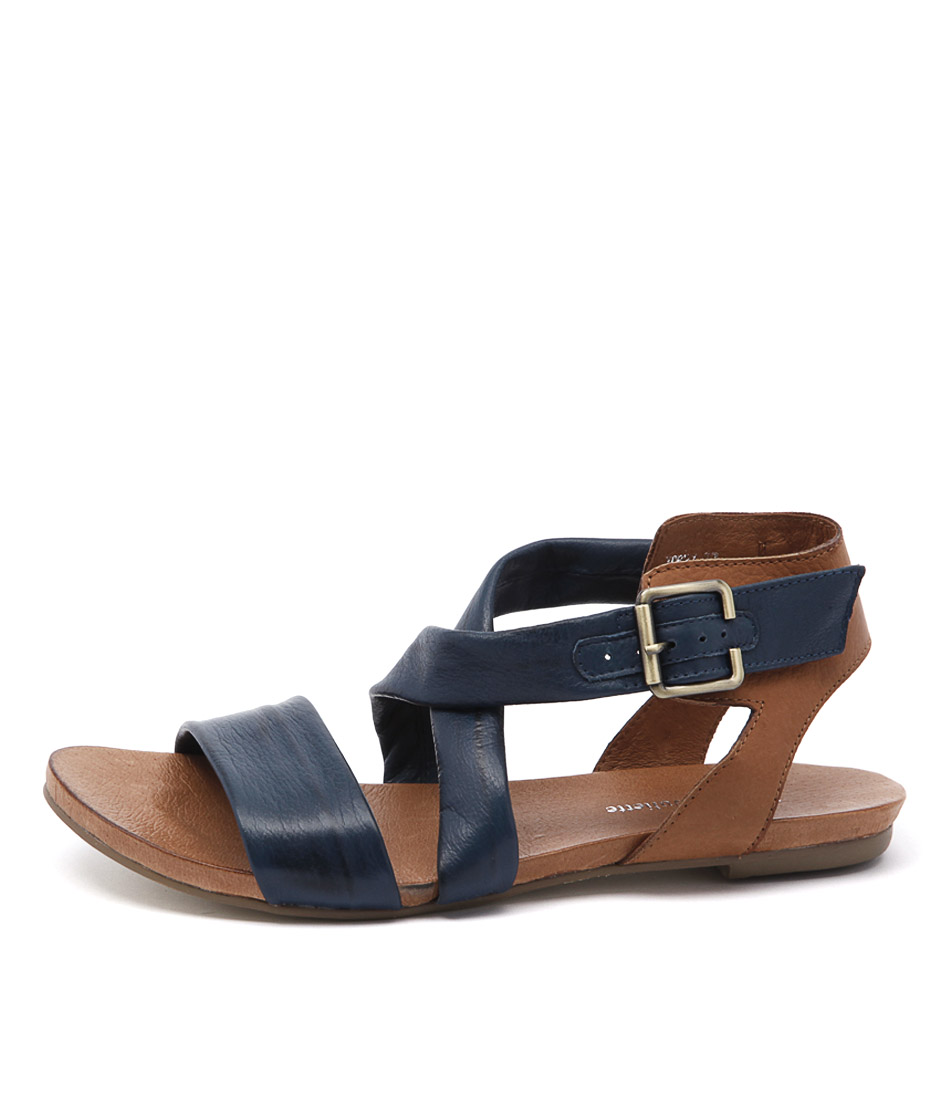 Django & Juliette Jobby Dark Denim Tan Casual Flat Sandals
