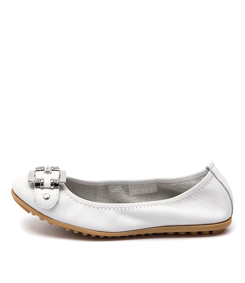 Django & Juliette Bellez White Comfort Flat Shoes
