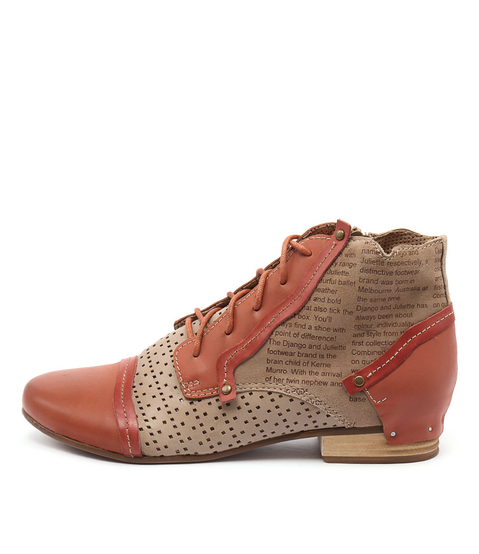 Django & Juliette Dandle Orange Multi Casual Ankle Boots