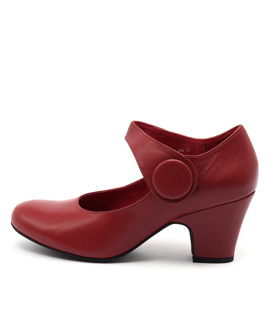 Django & Juliette Scanlan Red Red Casual Heeled Shoes