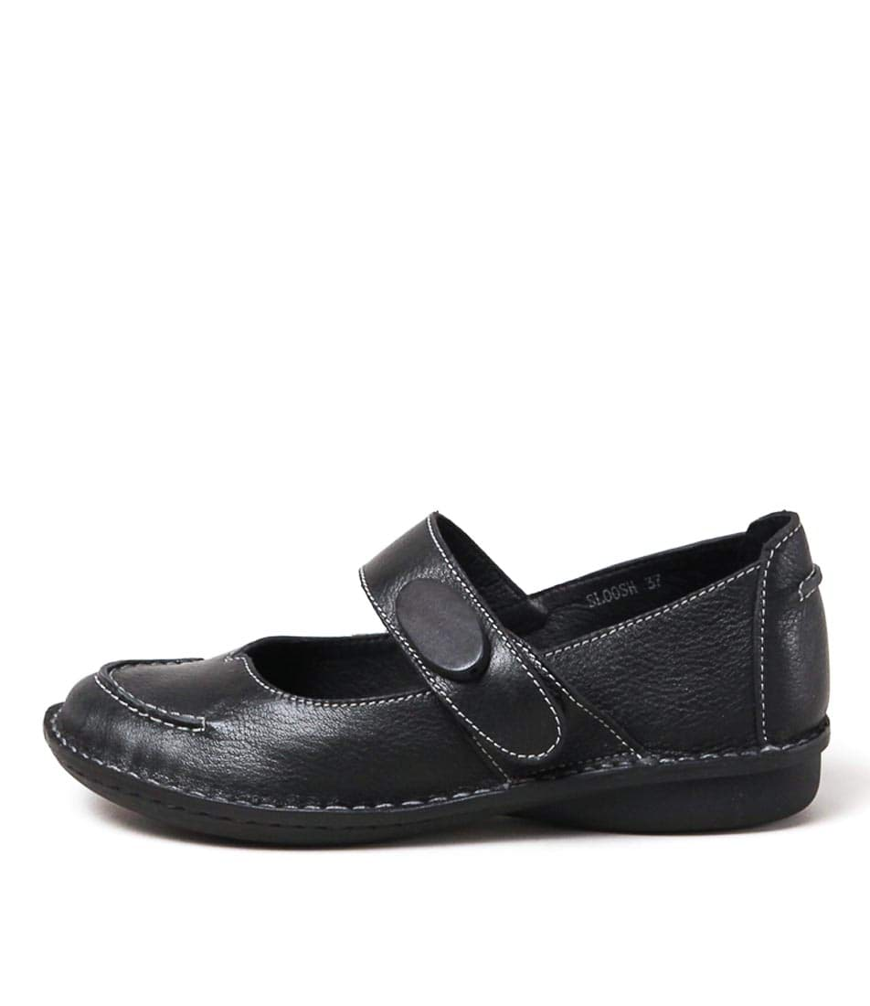 Gamins Sloosh Black Casual Flat Shoes