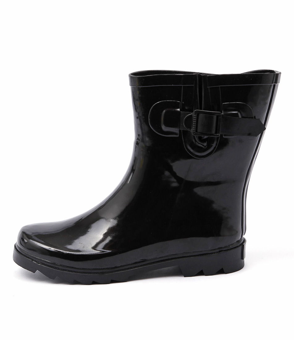 Gumboots Short Glossy Glossy Black Ankle Boots