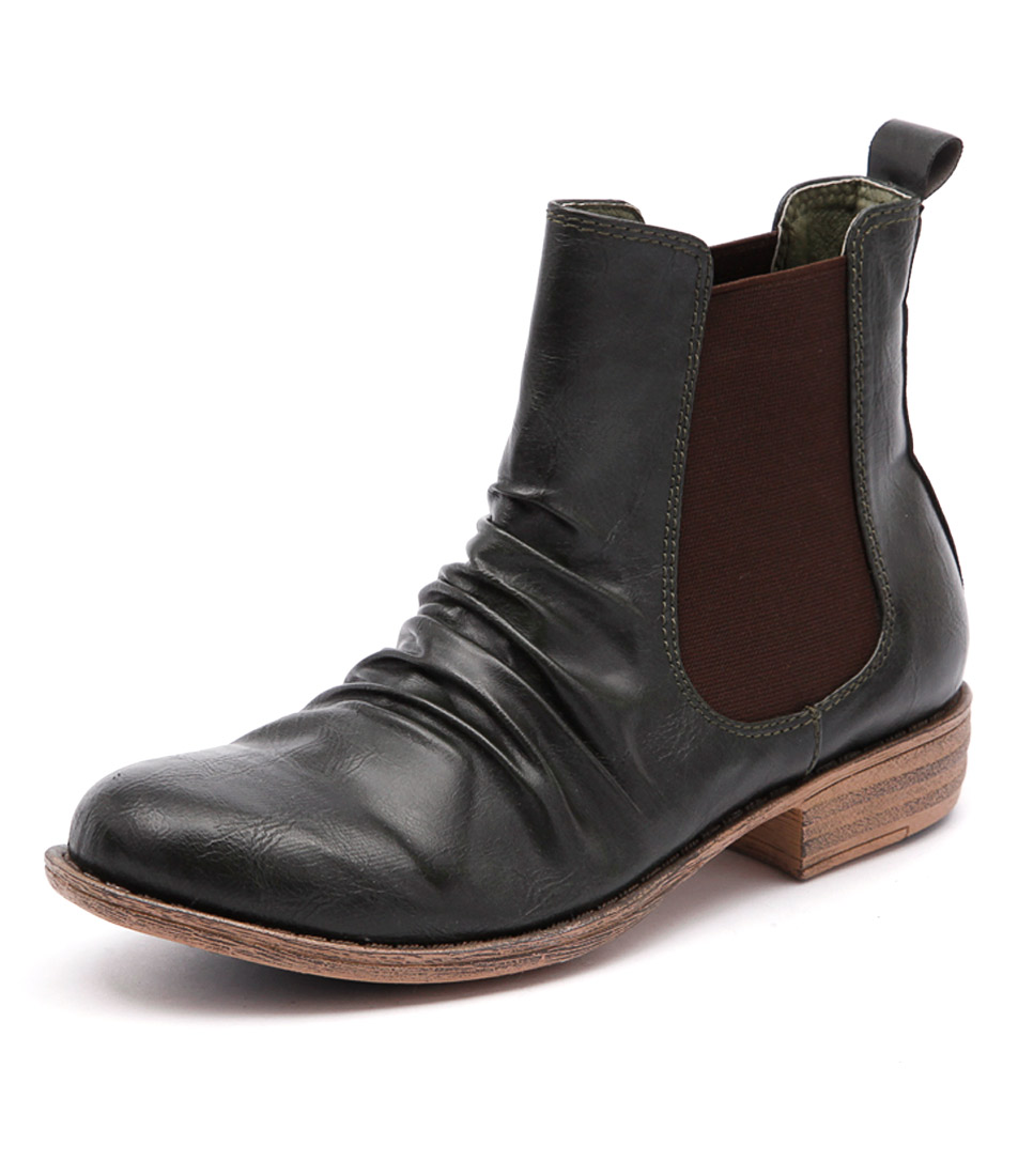 I Love Billy Welly Olive Ankle Boots