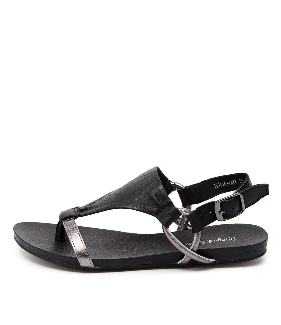 Django & Juliette Bingham Pewter Black Casual Flat Sandals