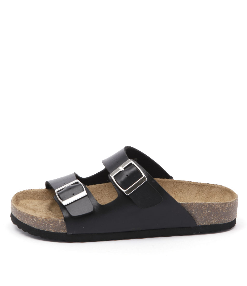 Lipstik Toffee Black Flat Sandals