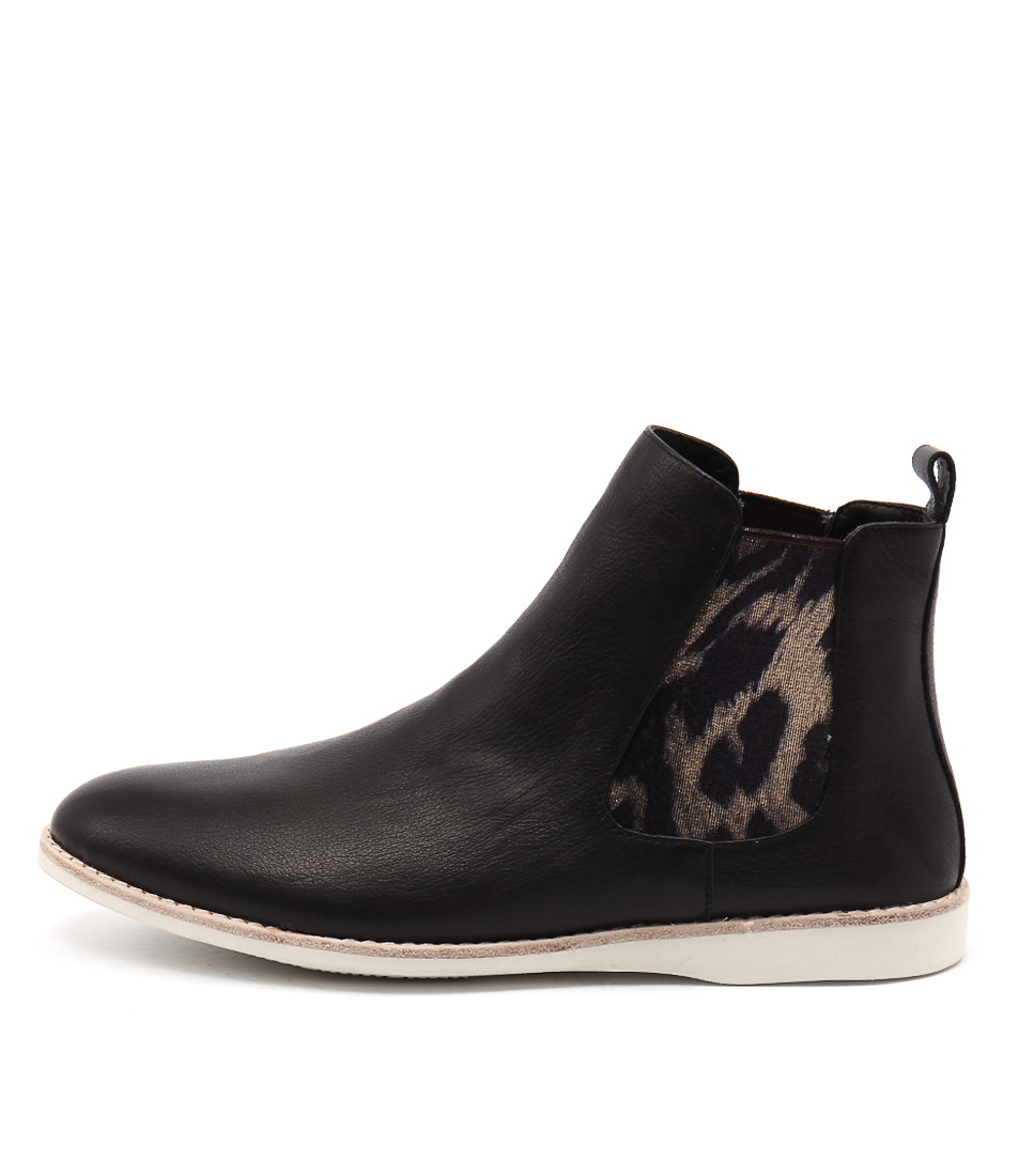 Silent D Nearly Black Gold Ocelot Ankle Boots