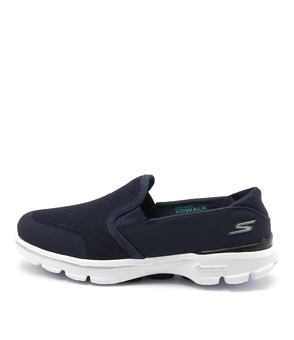 Skechers 14078 Go Walk Accomplish Navy White Casual Flat Sandals