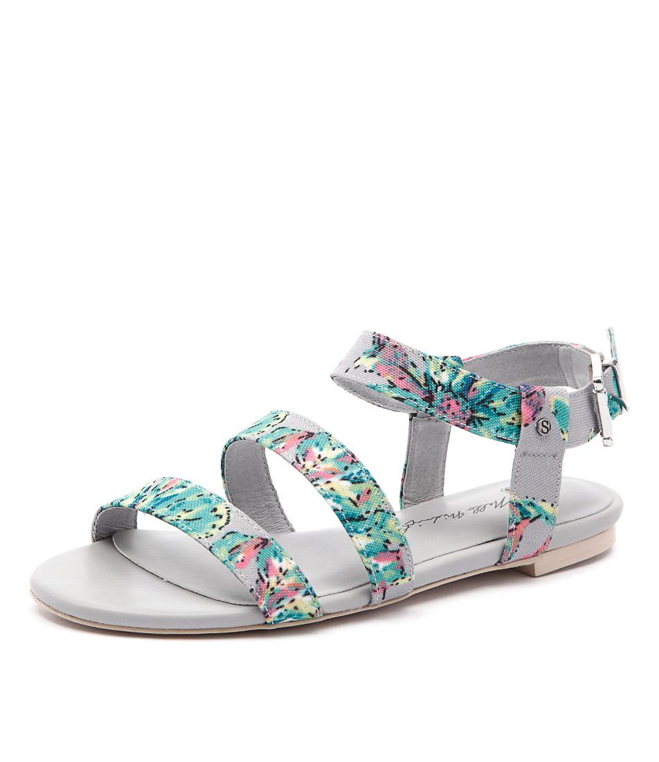 Skin Parker Green Floral Multi Flat Sandals