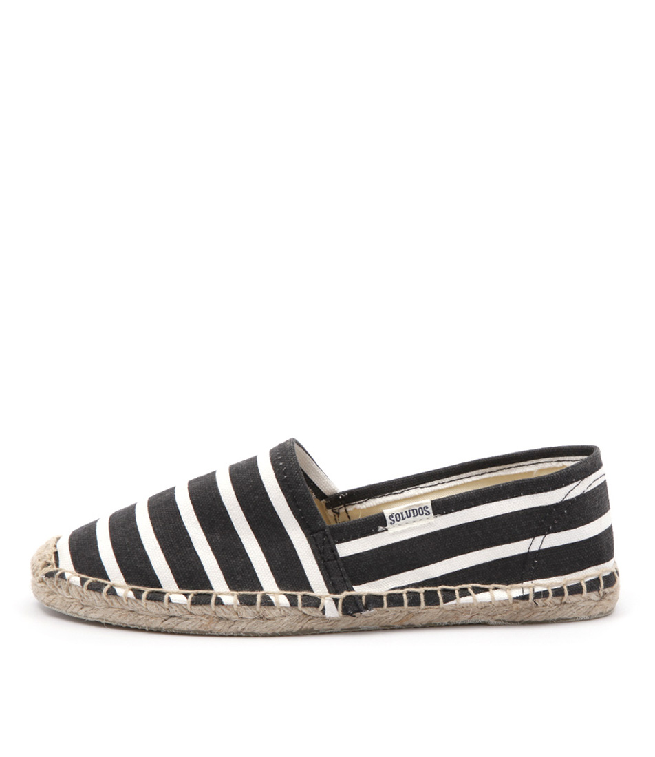 Soludos Original Classic Stripes Black White Flat Shoes
